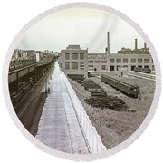 207th Street Subway Yards Round Beach Towel