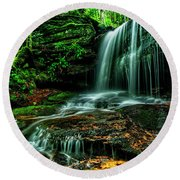 West Virginia Waterfall Round Beach Towel