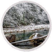 Round Beach Towel featuring the photograph Winter Along Cranberry River by Thomas R Fletcher