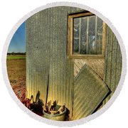 Round Beach Towel featuring the photograph 219 Shed Side by Jerry Sodorff