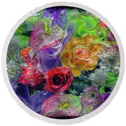 21a Abstract Floral Painting Digital Expressionism Round Beach Towel