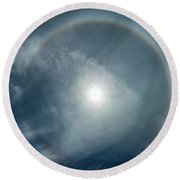 Round Beach Towel featuring the photograph 22 Degree Solar Halo by William Lee