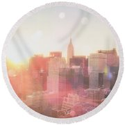 New York City Round Beach Towel by Vivienne Gucwa