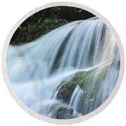 Waterfall Scenery Round Beach Towel
