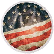 Round Beach Towel featuring the photograph American Flag by Les Cunliffe
