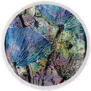 22a Abstract Floral Painting Digital Expressionism Round Beach Towel