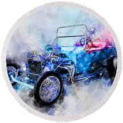 23 Model T Hot Rod Watercolour Illustration Round Beach Towel