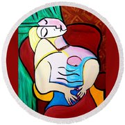 Sleeping In Brown Chair  Picasso Round Beach Towel