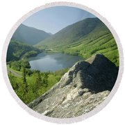 Round Beach Towel featuring the photograph 235601 Echo Lake Cannon Mountain Nh by Ed Cooper Photography