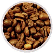 Round Beach Towel featuring the photograph Coffee Beans by Les Cunliffe