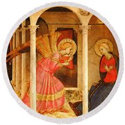 Fra Angelico  Round Beach Towel by Fra Angelico