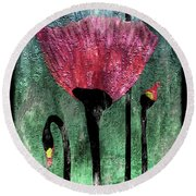 24a Abstract Floral Painting Digital Expressionism Round Beach Towel