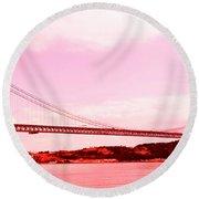 25 De Abril Bridge In Crimson Round Beach Towel