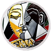 Picasso By Nora Fingers Round Beach Towel