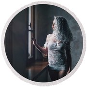 Round Beach Towel featuring the photograph Tu M'as Promis by Traven Milovich