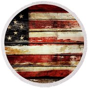 American Flag 8 Round Beach Towel