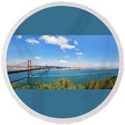 Round Beach Towel featuring the photograph 25th April Bridge Lisbon by Marion McCristall