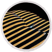 2612s-ak Abstract Rear Butt Bum Thighs Zebra Striped Woman In Composition Style Round Beach Towel