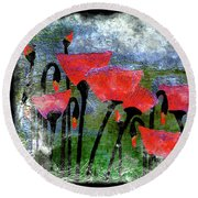 26a Abstract Floral Red Poppy Painting Round Beach Towel