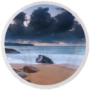Sunrise Seascape With Clouds Round Beach Towel
