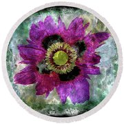 27a Abstract Floral Painting Digital Expressionism Round Beach Towel