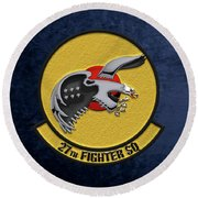 Round Beach Towel featuring the digital art 27th Fighter Squadron - 27 Fs Over Blue Velvet by Serge Averbukh