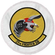 Round Beach Towel featuring the digital art 27th Fighter Squadron - 27 Fs Patch Over White Leather by Serge Averbukh