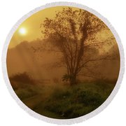 Misty Mountain Sunrise Round Beach Towel