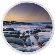 Sunrise Seascape And Rock Platform Round Beach Towel