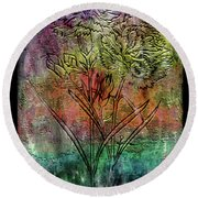 28a Abstract Floral Painting Digital Expressionism Round Beach Towel