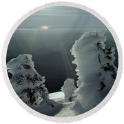 2m4415 A Ice Covered Trees Over Puget Sound Round Beach Towel