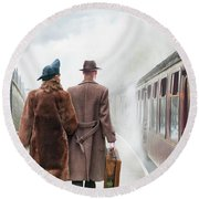 1940's Couple On A Railway Platform With Steam Train  Round Beach Towel by Lee Avison