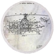 1950 Helicopter Patent Round Beach Towel