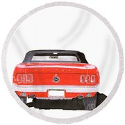 Round Beach Towel featuring the painting 1969 Mustang Convertible by Jack Pumphrey