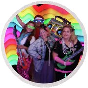 80's Dance Party At Sterling Event Center Round Beach Towel