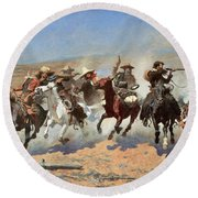 A Dash For The Timber Round Beach Towel by Frederic Remington