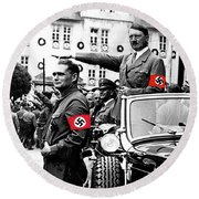 Adolf Hitler Giving The Nazi Salute From A Mercedes #3 C. 1934-2015 Round Beach Towel