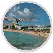 American Airlines At St. Maarten Round Beach Towel