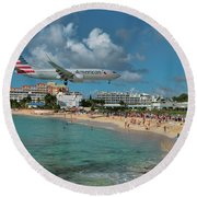 American Airlines At St. Maarten Round Beach Towel by David Gleeson