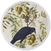 American Crow Round Beach Towel