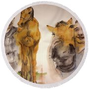 Round Beach Towel featuring the painting American Pharaoh Abum by Debbi Saccomanno Chan