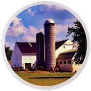 Amish Farm Round Beach Towel