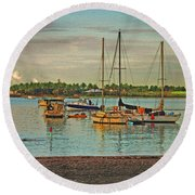 Round Beach Towel featuring the digital art 3- Anchored Out by Joseph Keane