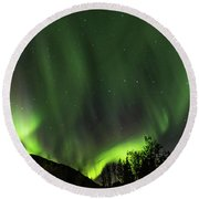 Aurora Borealis, Northern Lights In Denali National Park Round Beach Towel