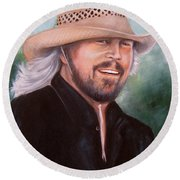 Barry Gibb Round Beach Towel