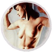 Bettie Page, Pinup Star Round Beach Towel