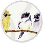 Round Beach Towel featuring the painting 3 Birds On A Branch by Dawn Derman