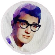 Buddy Holly, Music Legend Round Beach Towel