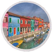 Burano - Venice - Italy Round Beach Towel