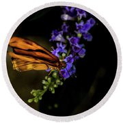 Round Beach Towel featuring the photograph Butterfly by Jay Stockhaus